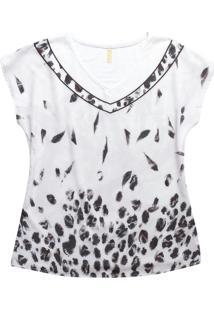 Blusa Com Decote V Estampada Branco
