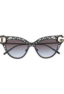 Dolce & Gabbana Eyewear Óculos De Sol Gatinho Devotion - Preto