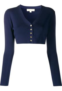 Michael Kors Collection Cardigan Canelado Com Abotoamento - Azul