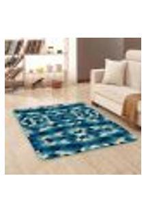 Tapete Sala Wevans Geométrico Azul Único 90X125