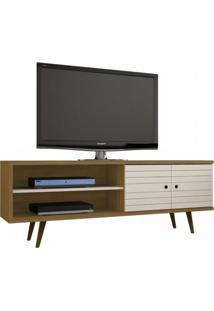 Rack Para Tv Até 60 Polegadas 2 Portas Retrô Ônix Decor Móveis Bechara Cinamomo/Off White