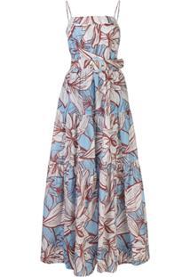 Nicholas Vestido Kerala Com Amarração E Estampa Floral - Azul
