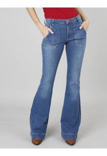 ae41c4744 ... Calça Jeans Feminina Super Flare Com Bolso Azul Médio