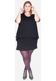 Vestido Bold Sobreposto Plus Size Feminino - Feminino-Preto