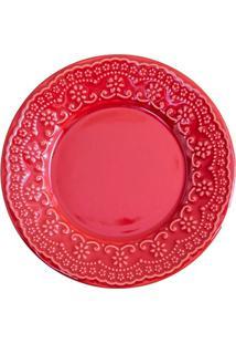 Prato De Sobremesa Em Cerâmica Madeleine 20Cm Vermelho