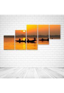 Quadro Decorativo - Boat Sunset - Composto De 5 Quadros - Multicolorido - Dafiti