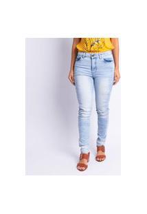 Calça Jeans Skinny Manchada Feminina Jeans