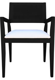 Cadeira Decorativa Sala De Jantar Megan Preto Linho Bege - Gran Belo