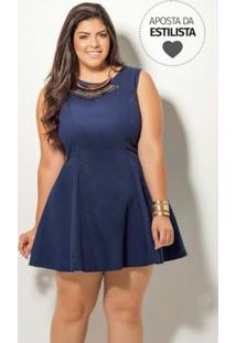 Vestido Evasê Marinho Quintess Plus Size