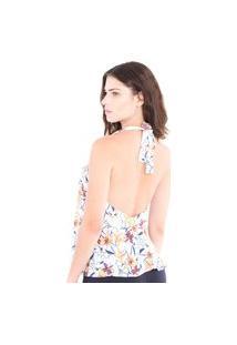 Blusa Adriana Candido Frente Única Floral Branca
