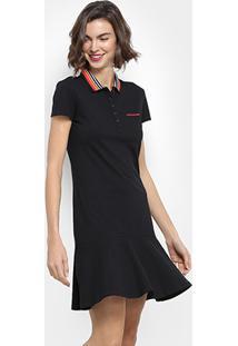 42075e6100fe1 ... Vestido Calvin Klein Peplum Polo Piquet - Feminino-Preto