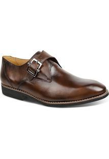 Sapato Masculino Linha Premium Monk Strap Sandro Moscoloni 16101 Marrom Escuro
