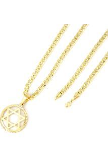 Pingente Estrela De Davi E Corrente E Pulseira 5Mm Tudo Jóias Folheado A Ouro 18K Dourado