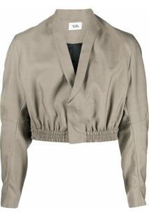 Vejas Smocked Waist Cropped Jacket - Marrom