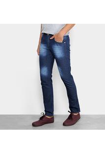 Calça Jeans Slim Preston Bigode Masculina - Masculino-Azul