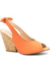 Sandália Zariff Shoes Anabela Laço Laranja