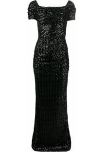 Dolce & Gabbana Vestido De Festa Com Paetês - Preto