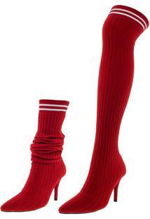 Bota Feminina Over Knee Vizzano - 3061102 Vermelho