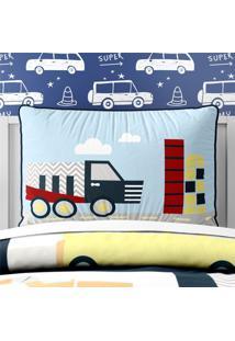 Capa De Travesseiro Infantil Caminhão Chevron Grão De Gente Azul
