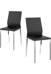 Cadeira Carraro 1804 Aço Cromada (2 Unidades) Cromada/Preto