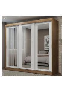 Guarda-Roupa Casal Madesa Kansas 3 Portas De Correr De Espelho 3 Gavetas Rustic/Branco Cor:Rustic/Branco