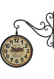 Relógio De Parede Retrô Vintage Estação Ferroviária Decoração Dupla Face Bordeaux 1971 R3P Import