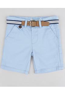 Bermuda De Sarja Infantil Slim Com Cinto Azul Claro