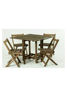 Conjunto 14 Bis Mesa Dobravel + 4 Cadeiras Estrutura Stain Nogueira - 61643 Stain Nogueira