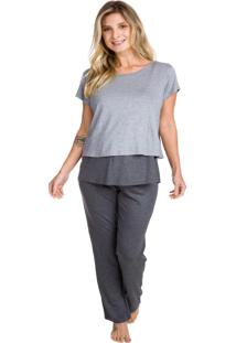 Pijama Inspirate Gestante Mescla Escuro Com Blusa Sobreposta Cinza