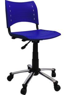 Cadeira De Escritório Secretária Giratória Evidence Ii Cromada E Azul