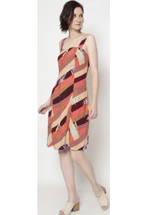 Vestido Folhagem - Coral & Bege- Moiselemoisele