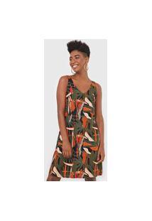 Vestido Mercatto Curto Tropical Preto/Verde