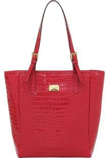 Bolsa Couro Tiracolo Croco - 73084.18 - Feminino-Vermelho