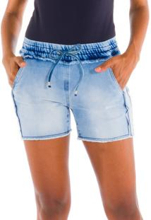 Shorts Moletom Denim Jeans Azul