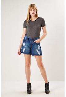Bermuda Jeans Casual Recortes Sacada Feminina - Feminino-Azul