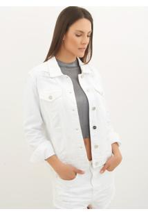 Jaqueta Le Lis Blanc Tradicional Dl Sarja Branco Feminina (Glace, P)