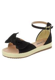 Sandália Romântica Calçados Flatform Fashion Preto