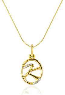 Pingente Letra K Ouro Amarelo E Diamantes 15 Mm