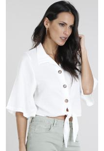 Camisa Feminina Cropped Com Nó Manga 3/4 Off White