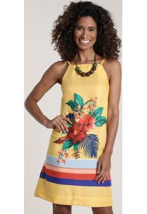 Vestido Feminino Estampado Floral Decote Reto Amarelo