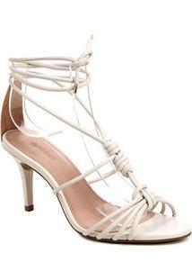 Sandália Couro Shoestock Charm Salto Fino Feminina - Feminino-Off White