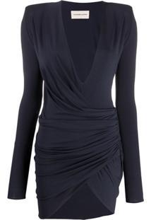 Alexandre Vauthier Vestido Franzido Com Fenda Frontal - Azul