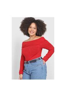 Blusa Calvin Klein Ombro A Ombro Vermelha