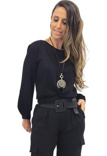 Blusa Mania De Sophia Laã§O Preta - Preto - Feminino - Viscose - Dafiti