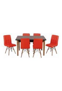 Conjunto Mesa De Jantar Luiza 135Cm Preta Com 6 Cadeiras Gomos - Vermelho