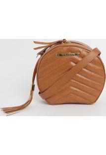 Bolsa Em Couro Matelassê Com Bag Charm- Marrom Clarodi Marlys