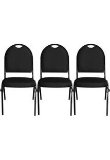 Kit 03 Cadeiras Pethiflex Essencial Hot Fixável Couro Preto