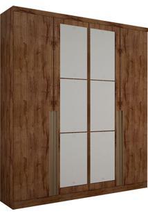 Guarda-Roupa Solteiro Com Espelho 4 Portas Morfeu-Novo Horizonte - Canela