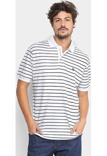 Camisa Polo U.S. Polo Assn Piquet Listrada Masculina - Masculino-Branco