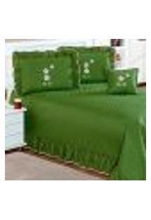 Jogo Cobre Leito Queen Verde Matelado Com Almofada Decorativa Floral 7 Peças